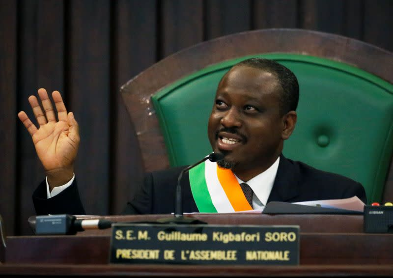 Ivory Coast parliament speaker Guillaume Soro speaks at the National Assembly in Abidjan