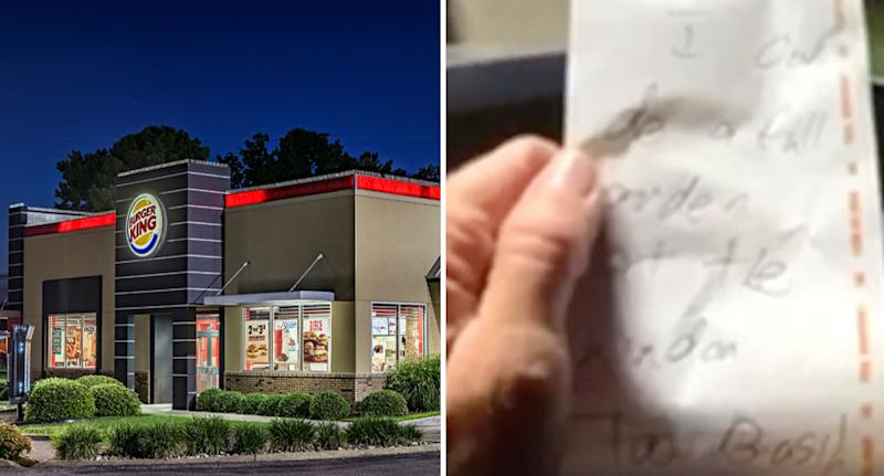 Burger King store shown and the note given to a customer saying it was too busy to take her order.