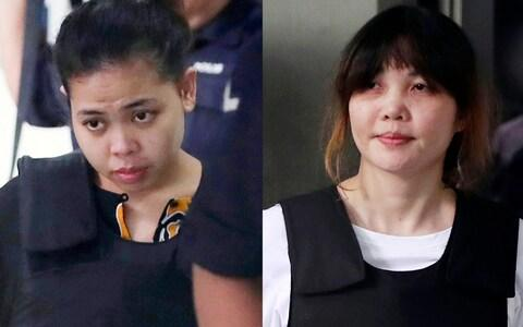The two year ordeal of the two women accused of murdering Kim Jong Nam is now over - Credit: Daniel Chen/AP