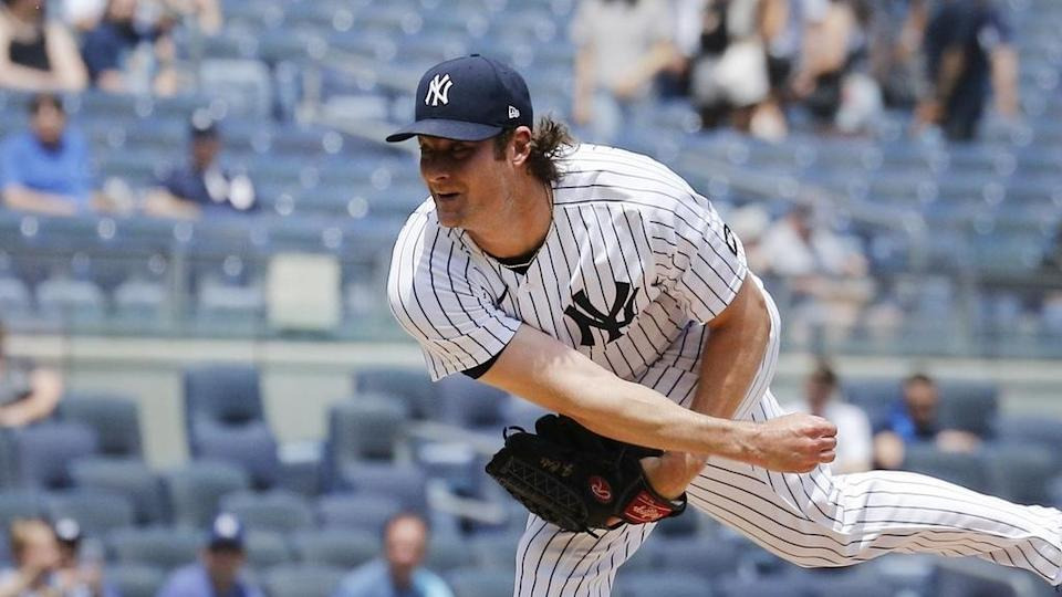 Yankees Gerrit Cole pitches in home uniform