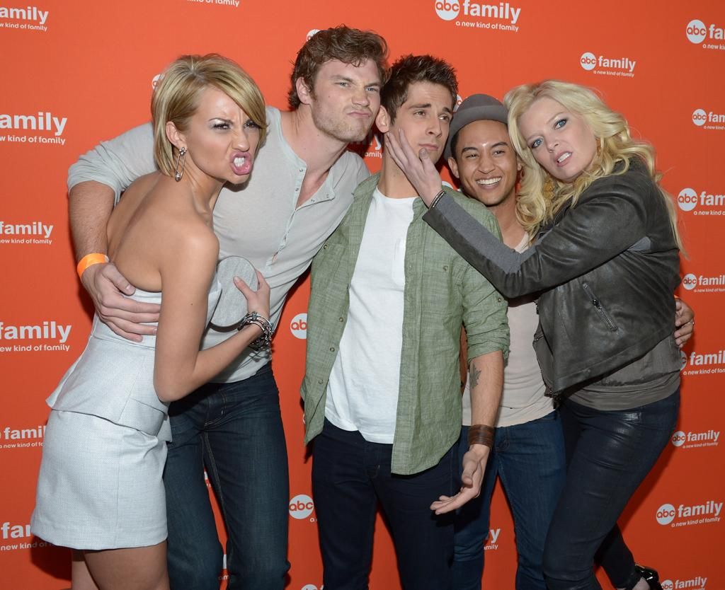 """Chelsea Kane, Derek Theler, Jean-Luc Bilodeau, Tahj Mowry, and Melissa Peterman (""""Baby Daddy"""") arrive at ABC Family's West Coast Upfronts at The Sayers Club on May 1, 2012 in Hollywood, California."""