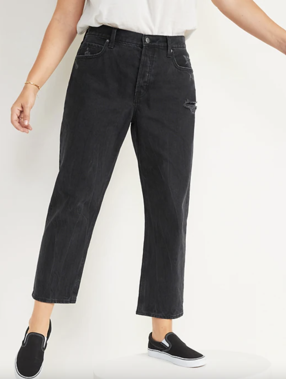 model wearing black High-Waisted Slouchy Straight Cropped Distressed Jeans and black slip-on shoes