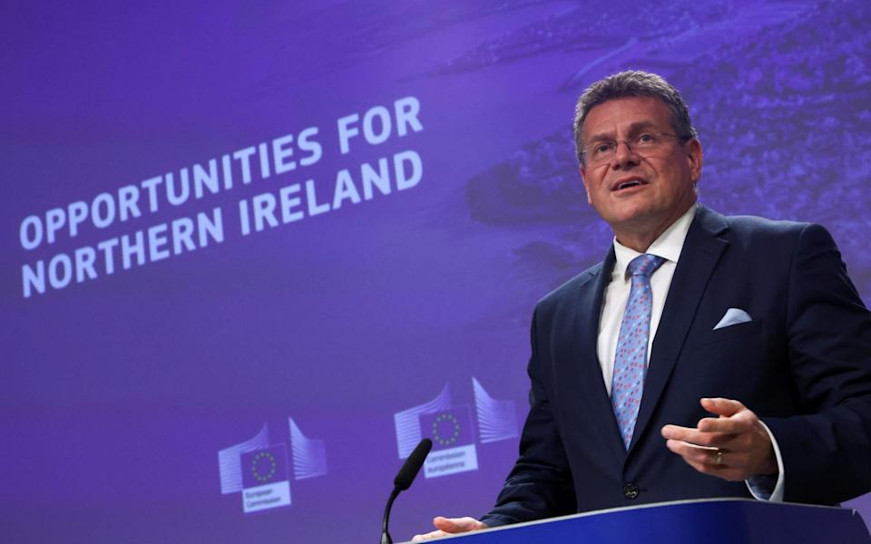 European Commission Vice President Maros Sefcovic addresses a news conference on a package of measures designed to ease the flow of goods from Britain to Northern Ireland - Yves Herman/Reuters