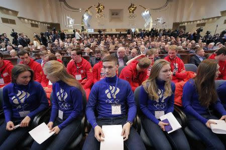 Russian athletes attend a meeting on the country's participation at the 2018 Pyeongchang Winter Olympics, at the Russian Olympic Committee (ROC) in Moscow, Russia December 12, 2017. REUTERS/Maxim Shemetov
