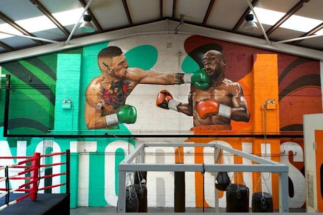 A mural on the wall of Conor McGregor's gym in Ireland was a gift from his coach, John Kavanagh. (Courtesy photo)