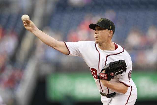 Washington Nationals starting pitcher Jeremy Hellickson delivers a pitch during the first inning of a baseball game against the Chicago Cubs, Sunday, May 19, 2019, in Washington. (AP Photo/Nick Wass)