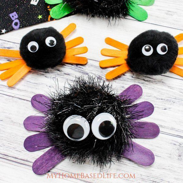 """<p>You're probably not too keen on the itsy-bitsy spider hanging out in your home, but you'll likely make an exception for this cute critter. Offer children different colored <a href=""""https://www.amazon.com/Sticks-Natural-Popsicle-Length-Crafts/dp/B07F367TCK"""" target=""""_blank"""">popsicle sticks</a> and different sized <a href=""""https://www.amazon.com/Variety-approx-1120-Plastic-self-adhesive-Assorted/dp/B01KSRF3FQ"""" target=""""_blank"""">googly eyes</a> to let their imaginations run wild.</p><p><strong>Get the tutorial at <a href=""""https://myhomebasedlife.com/halloween-spider-kids-craft/"""" target=""""_blank"""">My Home-Based Life</a>.</strong></p><p><strong><a class=""""body-btn-link"""" href=""""https://www.amazon.com/Variety-approx-1120-Plastic-self-adhesive-Assorted/dp/B01KSRF3FQ?tag=syn-yahoo-20&ascsubtag=%5Bartid%7C10050.g.22143289%5Bsrc%7Cyahoo-us"""" target=""""_blank"""">SHOP GOOGLY EYES</a><br></strong></p>"""