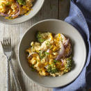 """<p>In this recipe we've taken basic macaroni and cheese to a whole new level. Charred broccoli and onions are added to cooked elbow pasta, mixed together in a mustardy cheese sauce and cooked on a sheet-pan in the oven. Simple to make, and not much to clean up! <a href=""""http://www.eatingwell.com/recipe/266593/mac-cheese-with-charred-broccoli-onion/"""" rel=""""nofollow noopener"""" target=""""_blank"""" data-ylk=""""slk:View recipe"""" class=""""link rapid-noclick-resp""""> View recipe </a></p>"""