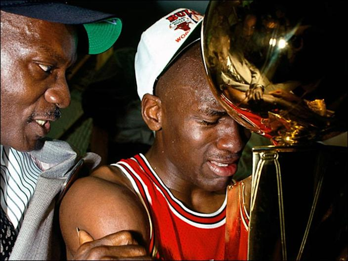 1991 NBA Championship Finals INGLEWOOD, CA - JUNE 12: Michael Jordan #23 of the Chicago Bulls celebrates with his father James Jordan in the locker room after winning Game 5 the 1991 NBA Championship Finals against the Los Angeles Lakers at the Great Western Forum in Inglewood, California. NOTE TO USER: User expressly acknowledges and agrees that, by downloading and or using this photograph, User is consenting to the terms and conditions of the Getty Images License Agreement. Mandatory copyright notice: Copyright 1991 NBAE (Photo by Andrew D. Bernstein/NBAE via Getty Images) Purchase a license Get personalized pricing by telling us about when, where, and how you want to use this image. SELECT OPTIONS SAVE TO CART Details Restrictions: USER IS NOT PERMITTED TO DOWNLOAD OR USE IMAGE WITHOUT PRIOR APPROVAL. Credit: Andrew D. Bernstein / Contributor Editorial #: 57018257 Collection: NBA Classic Date created: June 12, 1991 License type: Rights-managed Release info: Not released.More information Source: NBA Classic Object name: 56156683ADB_DNA034378001 Max file size: 2400 x 3000 px (8.00 x 10.00 in) - 300 dpi - 1.48 MB ** OUTS - ELSENT, FPG, CM - OUTS * NM, PH, VA if sourced by CT, LA or MoD **