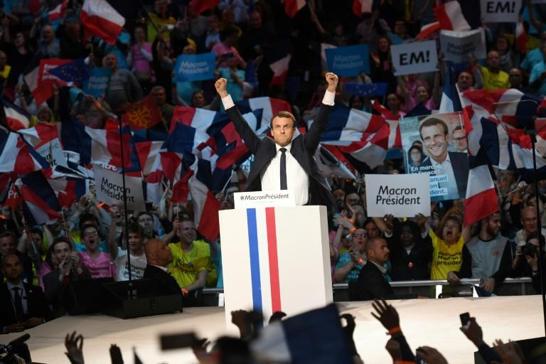 """Emmanuel Macron told crowds in Paris his presidency would bring """"hope and courage"""""""