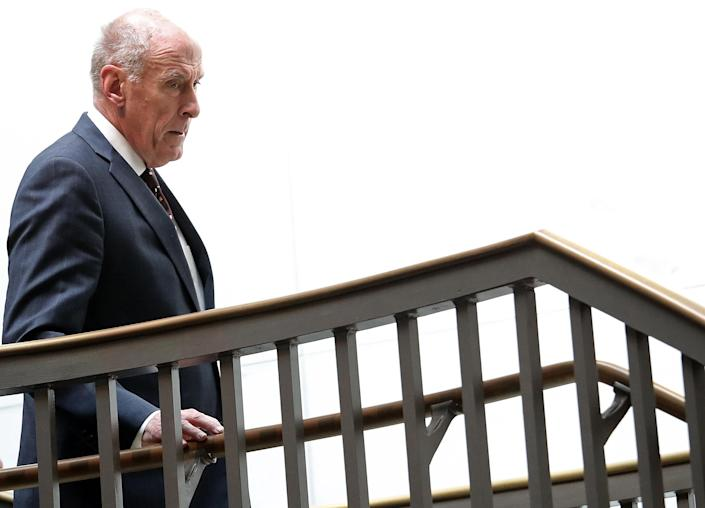 """<span class=""""s1"""">Director of National Intelligence Dan Coats arrives at the Capitol for a Defense Subcommittee hearing in April. (Photo: Win McNamee/Getty Images)</span>"""
