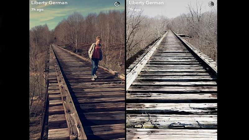 Liberty German posted haunting photos from the bridge where they were walking before the teens went missing. Photo: Snapchat