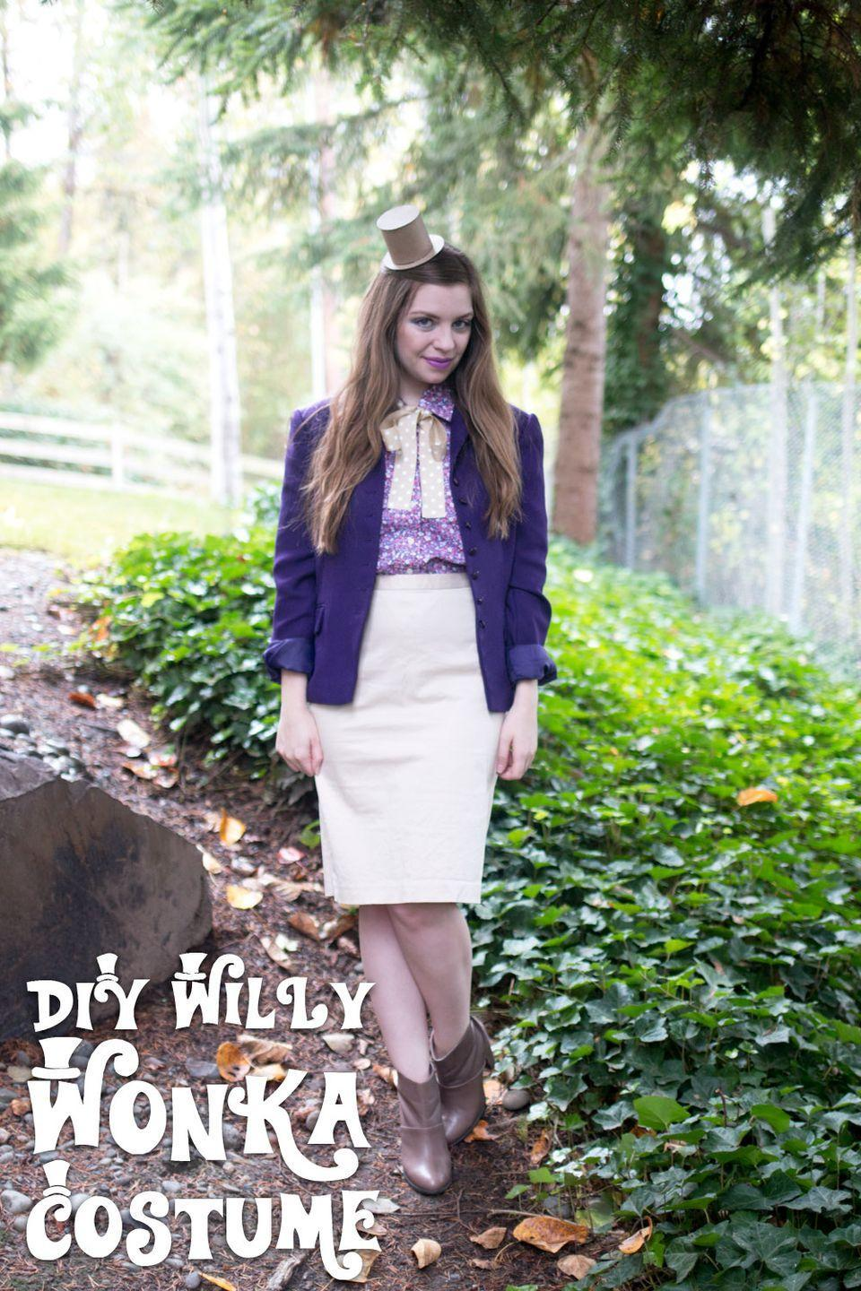 """<p>This polished Willy Wonka costume can be put together with items you likely already have in your closet. It can be worn from the office to a Halloween party, and everywhere in between. </p><p><strong>Get the tutorial at </strong><a href=""""http://www.hellorigby.com/diy-willy-wonka-costume/"""" rel=""""nofollow noopener"""" target=""""_blank"""" data-ylk=""""slk:Hello Rigby"""" class=""""link rapid-noclick-resp""""><strong>Hello Rigby</strong></a><strong>.</strong></p><p><a class=""""link rapid-noclick-resp"""" href=""""https://www.amazon.com/FASHIONOMIC-Womens-Weight-Cardigan-CLBC002/dp/B07L5JVFNZ/ref=sr_1_24?tag=syn-yahoo-20&ascsubtag=%5Bartid%7C10050.g.28698768%5Bsrc%7Cyahoo-us"""" rel=""""nofollow noopener"""" target=""""_blank"""" data-ylk=""""slk:SHOP PURPLE BLAZERS"""">SHOP PURPLE BLAZERS</a></p>"""