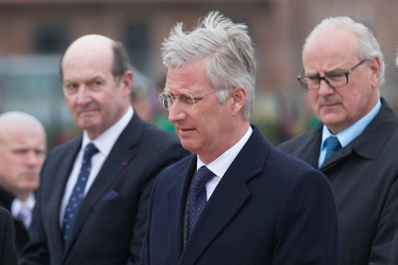 King Philippe of Belgium takes part in a ceremony at the Cross of Reconciliation in Ieper to commemorate the first gas attack in the First World War, on April 22, 2015 (AFP Photo/Kurt Desplenter)