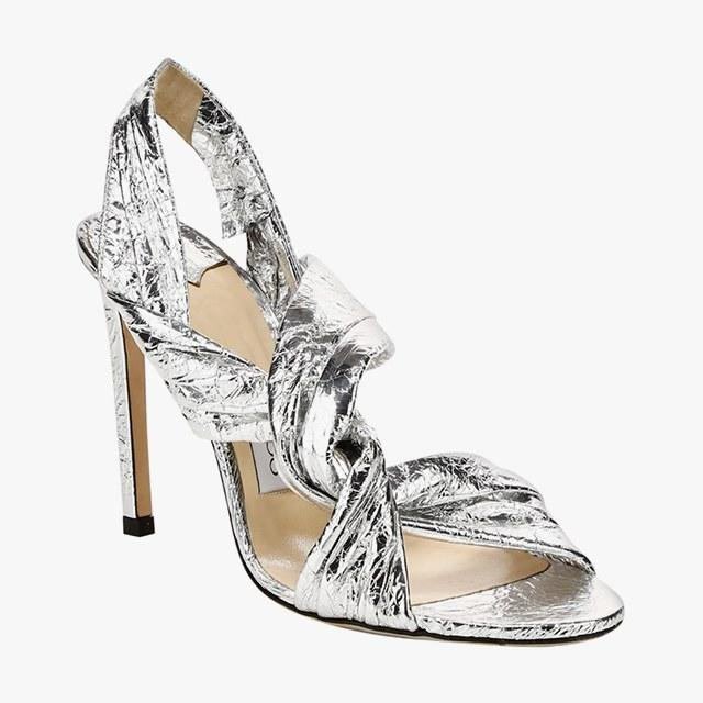 Jimmy Choo Lalia crinkled metallic stiletto sandals, $895, saks.com