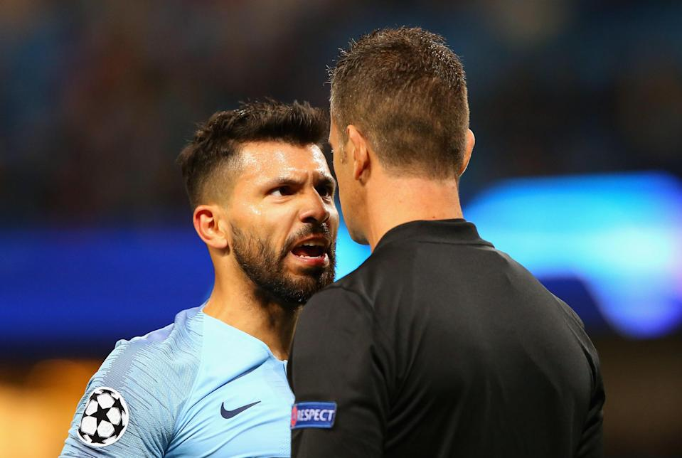 Sergio Aguero and Manchester City were not happy against Lyon on Wednesday. (Getty)