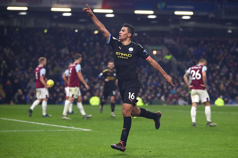 Rodri celebrates his thunderbolt. (Photo by Chris Brunskill/Fantasista/Getty Images)
