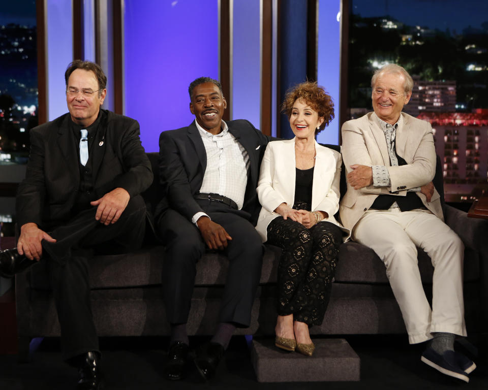 "JIMMY KIMMEL LIVE - ""Jimmy Kimmel Live"" airs every weeknight at 11:35 p.m. EST and features a diverse lineup of guests that include celebrities, athletes, musical acts, comedians and human interest subjects, along with comedy bits and a house band. The guests for Wednesday, June 8 included cast of the new ""Ghostbusters"" film - Melissa McCarthy, Kristen Wiig, Kate McKinnon and Leslie Jones and original ""Ghostbusters"" film and musical guest Post Malone. (Photo by Randy Holmes/Walt Disney Television via Getty Images) DAN AYKROYD, ERNIE HUDSON, ANNIE POTTS, BILL MURRAY"