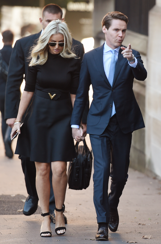 Roxy Jacenko and her husband Oliver Curtis on day one of the trial. Photo: AAP