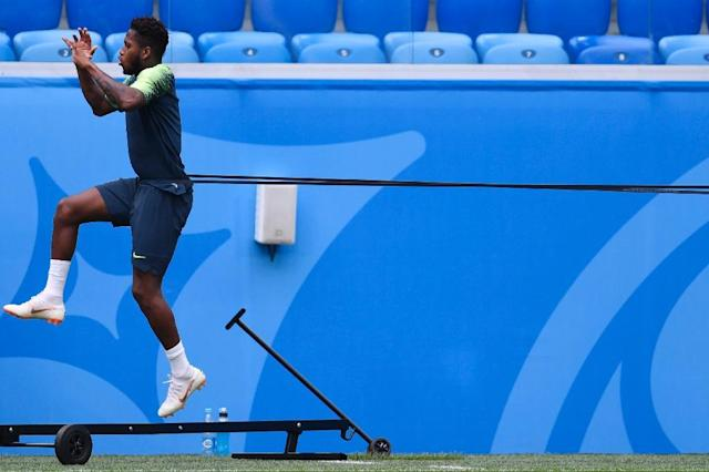 Brazil's midfielder Fred, seen in training ahead of his country's Group E match against Costa Rica, said working with United coach Jose Mourinho was an opportunity he could not pass up (AFP Photo/CHRISTOPHE SIMON)
