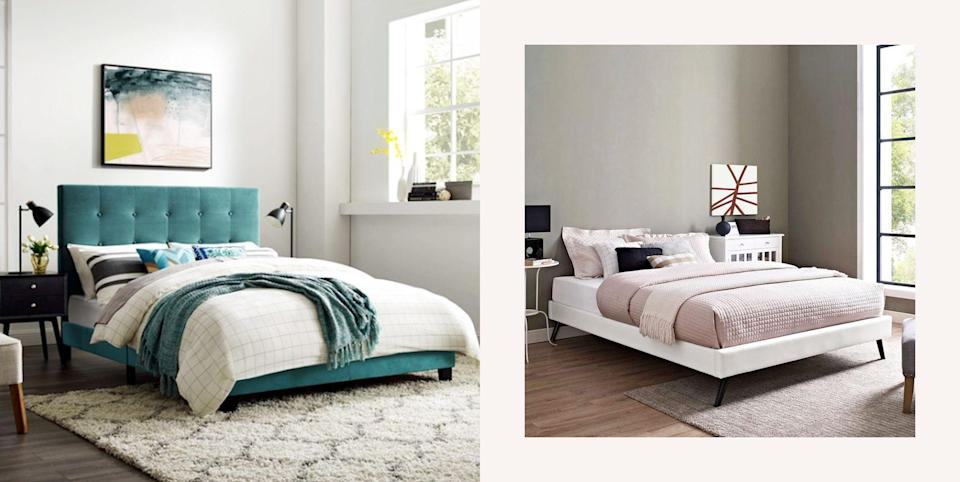<p>You know you're growing up when you get this excited about bed frames. Calling all room decor aficionados everywhere (or just anyone who's really interested in giving their mattress a facelift) because this list of 10 inexpensive bed frames is truly about to change your sleep game. </p><p>TBH, I was today years old when I discovered that there are more than 53 types of beds in existence—and I'm low-key still reeling. How does one even know where to start? </p><p>That said, I've overcome my shock to help you find the right fit for your bedroom. Whether you're into posh panels (you fancy, you), upholstered headboards, or rustic wooden frames, there are tons of affordable brands that offer <em>all</em> the savings without making you compromise your favorite styles. </p><p>Adulthood, I'm on my way.</p>