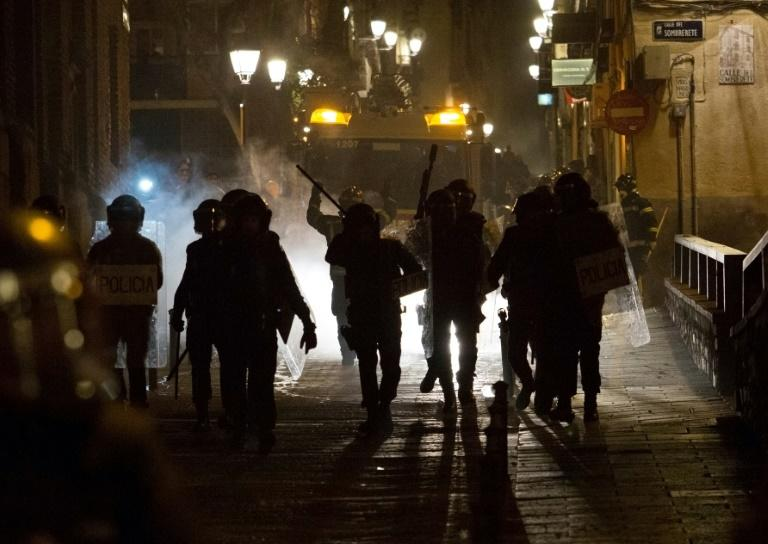 Police said 10 officers were injured in clashes on Thursday night