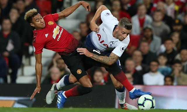 <span>Toby Alderweireld (right) tangles with Jesse Lingard during Tottenham's 3-0 win at Old Trafford on 27 August.</span> <span>Photograph: Matthew Peters/Man Utd via Getty Images</span>