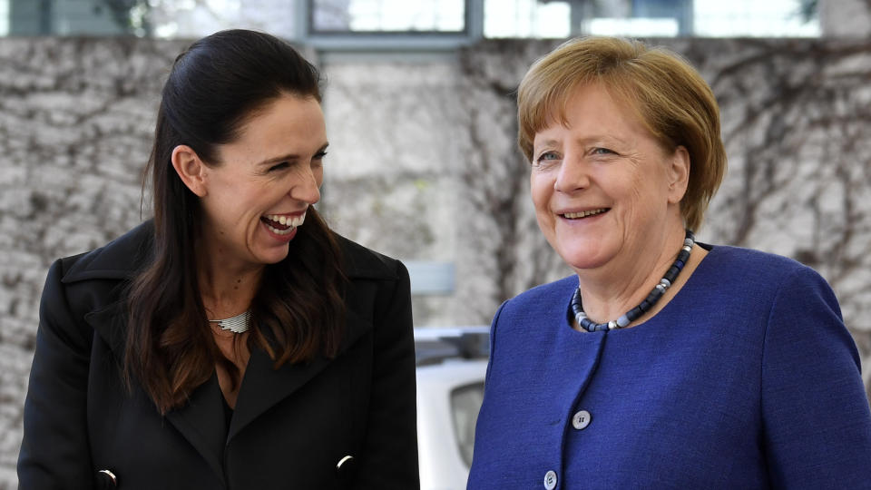 German chancellor Angela Merkel, right, with New Zealand's prime minister Jacinda Ardern in Berlin in April 2018. Photo: John Macdougall/AFP via Getty