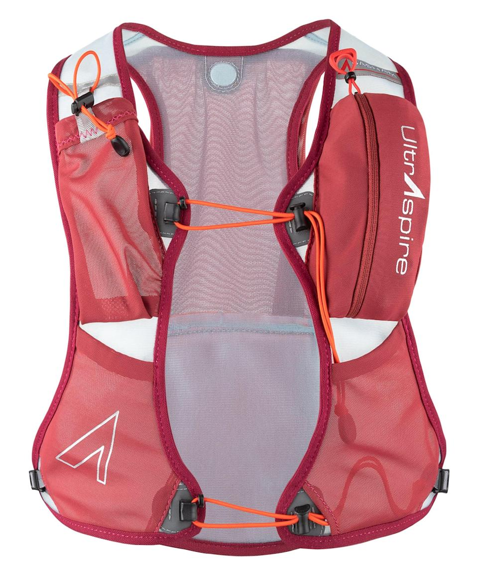 """<p>A running hydration pack is nonnegotiable! """"It's important to always take water in the mountains,"""" Basham said. """"You never know if the weather will change or your one-hour run will accidentally turn into three."""" </p> <p>When shopping, consider two of Basham's favorites: the <span>UltrAspire Basham Race Vest</span> ($90) and the UltrAspire Momentum.</p>"""