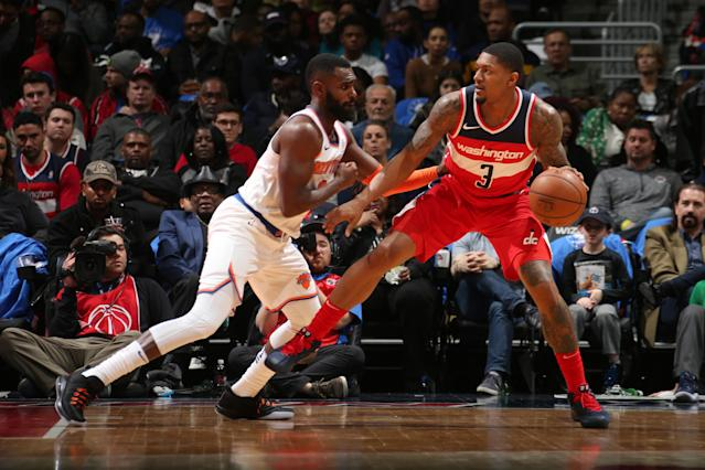 WASHINGTON, DC -MARCH 25: Bradley Beal #3 of the Washington Wizards handles the ball during the game against the New York Knicks on March 25, 2018 at the Capital One Arena in Washington, DC. (Photo by Ned Dishman/NBAE via Getty Images)
