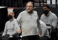 FILE - New Orleans Pelicans coach Stan Van Gundy watches from the bench during the second half of the team's NBA basketball game against the Portland Trail Blazers in Portland, Ore., in this Thursday, March 18, 2021, file photo. Stan Van Gundy is out as Pelicans coach following just one season at the helm, a person familiar with the situation said. The person spoke to The Associated Press on condition of anonymity Wednesday, June 16, 2021, because the move has not been publicly announced. (AP Photo/Steve Dykes, File)