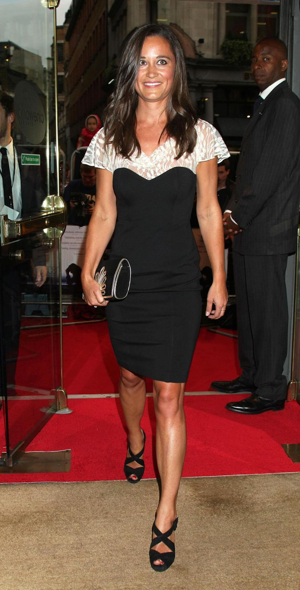 <p>At a film premiere in summer 2012, Pippa opted to wear a monochrome dress by British luxe label Temperley. <i>[Photo: PA Images]</i> </p>