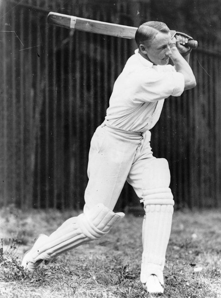 Australian cricketer Donald Bradman in action. Bradman (1908 - 2001) was knighted in 1949 for his services to cricket, the first player to receive the honour.   (Photo by Fox Photos/Getty Images)