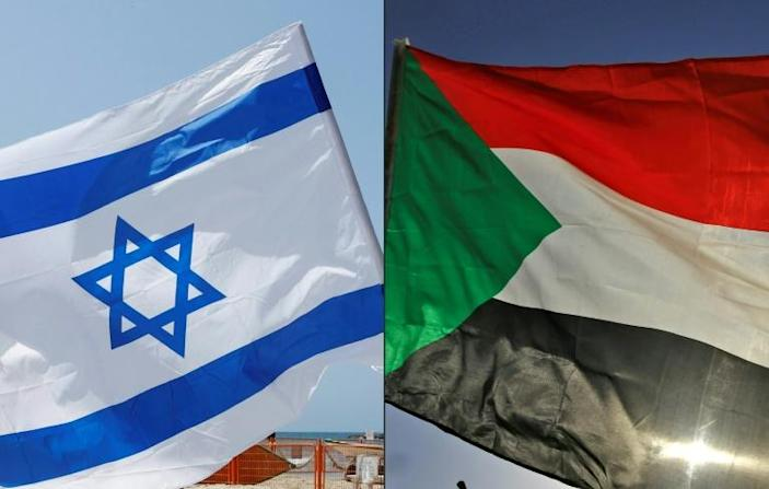 The flags of Israel and Sudan; a deal with Israel would make Sudan the third Arab country since August -- after the United Arab Emirates and Bahrain -- to forge peace with the Jewish nation