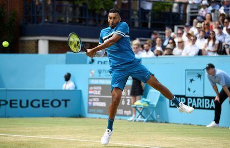 Tennis - ATP 500 - Fever-Tree Championships - The Queen's Club, London, Britain - June 20, 2018 Australia's Nick Kyrgios in action during his semi final match against Croatia's Marin Cilic Action Images via Reuters/Tony O'Brien