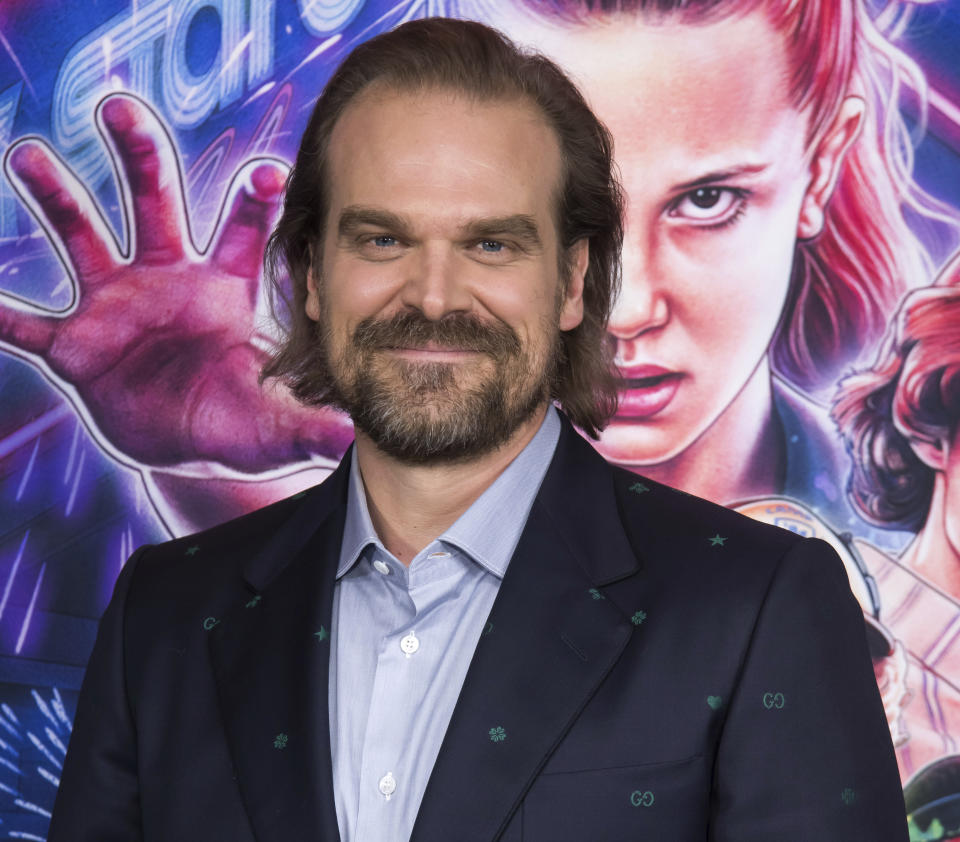 """David Harbour attends a special screening of Netflix's """"Stranger Things"""" season 3 at the DGA New York Theater on Monday, Nov. 11, 2019, in New York. (Photo by Charles Sykes/Invision/AP)"""