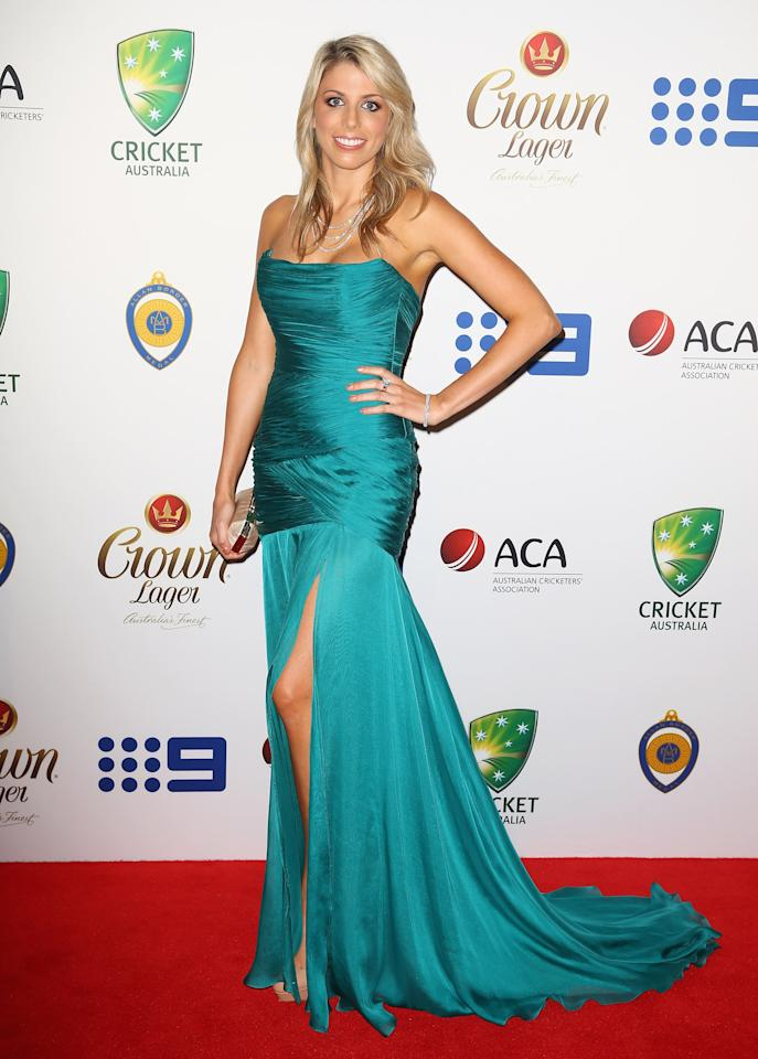 SYDNEY, AUSTRALIA - JANUARY 20:   Kayla Dickson arrives at the 2014 Allan Border Medal at Doltone House  on January 20, 2014 in Sydney, Australia.  (Photo by Don Arnold/WireImage)