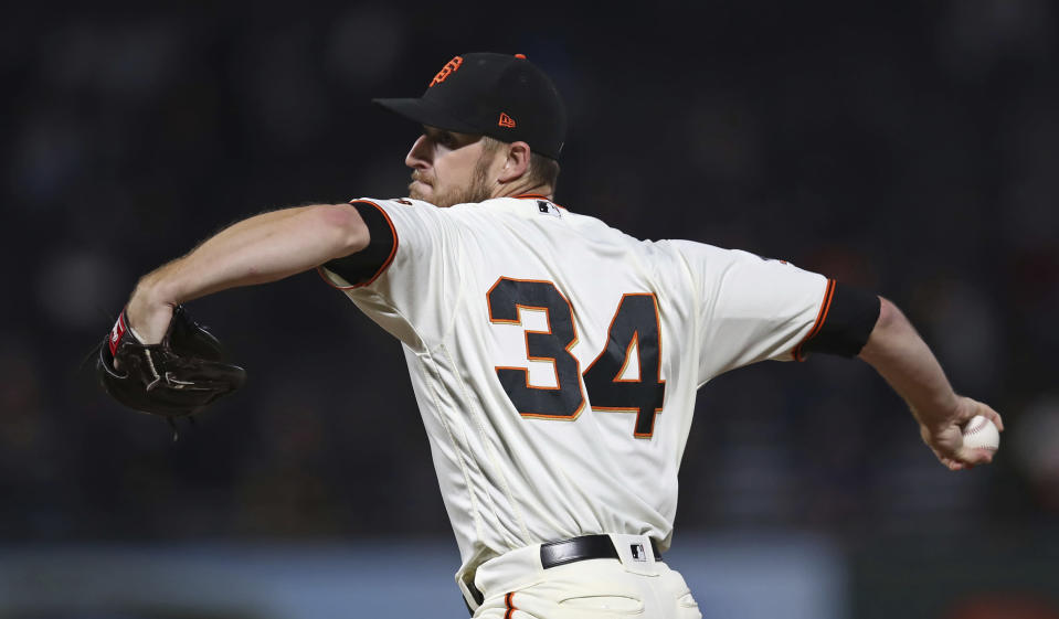 San Francisco Giants pitcher Chris Stratton works against the San Diego Padres during the first inning of a baseball game Tuesday, Sept. 25, 2018, in San Francisco. (AP Photo/Ben Margot)