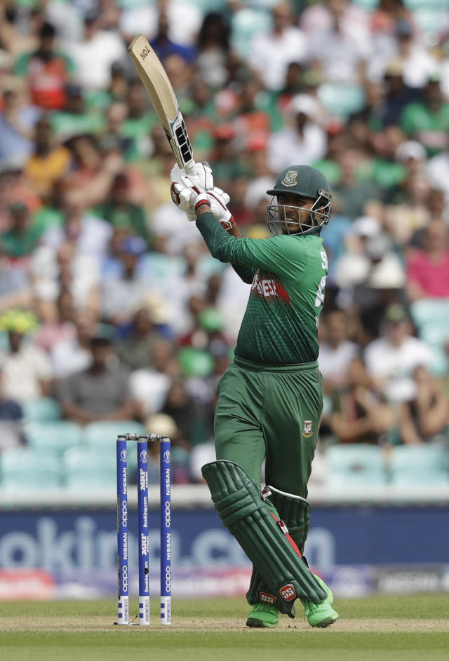 Bangladesh's Soumya Sarkar hits a four during the Cricket World Cup match between South Africa and Bangladesh at the Oval in London, Sunday, June 2, 2019. (AP Photo/Matt Dunham)