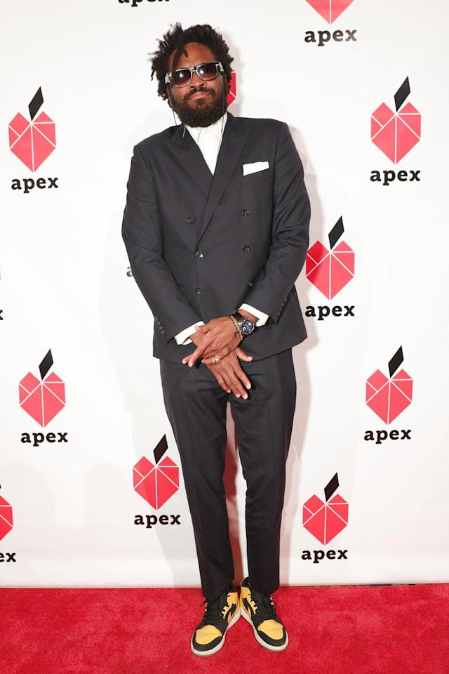 <p>Maxwell Osborne attends the 26th annual Apex for Youth Gala in support of his design partner Dao-Yi Chow; the two work together at the fashion label Public School. (Photo: BFA/Courtesy of Apex for Youth) </p>