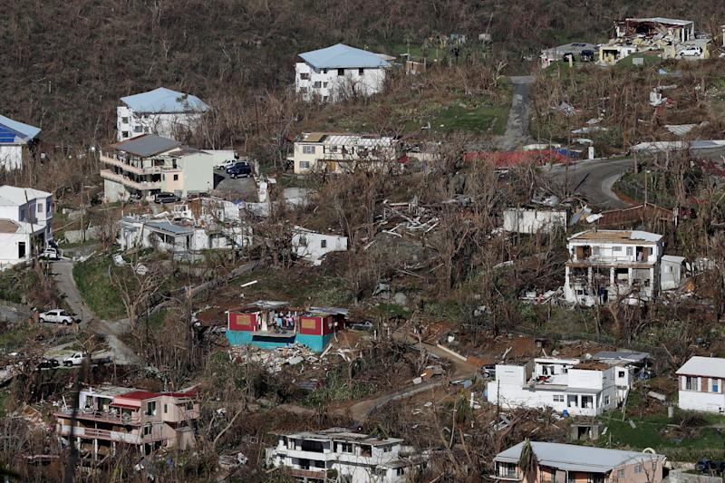 Damaged houses dot the hillsides in Charlotte Amalie, St. Thomas, more than a week after Hurricane Irma hit the U.S. Virgin Islands. (Chip Somodevilla via Getty Images)
