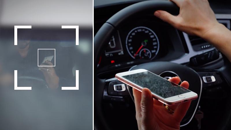 NSW has rolled out cameras to catch drivers out on their mobile phones. Pictured on the left is a man holding a phone while driving and on the right is a person holding a phone with their hand on a steering wheel.
