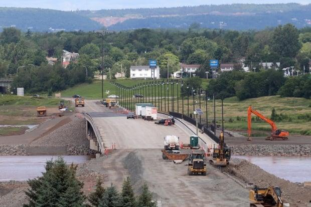 The Petitcodiac River bridge shown under construction on July 23. The project is ahead of schedule and is expected to open on Friday, Sept. 17. (Shane Magee/CBC News file photo - image credit)