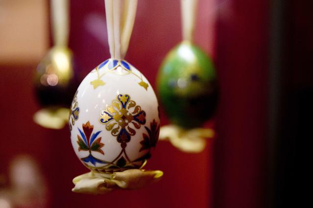 An Easter egg produced at the end of the 19th century, is on display at the Imperial Easter eggs exhibition in the Historical Museum in Moscow, Russia, Friday, April 11, 2014. The exhibition of Easter eggs linked to the Russian Emperor family opened in the Historical Museum on Friday. (AP Photo/Pavel Golovkin)
