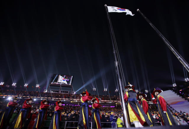 <p>South Korean flag is raised during the opening ceremony of the 2018 Winter Olympics in Pyeongchang, South Korea, Friday, Feb. 9, 2018. (AP Photo/Vadim Ghirda) </p>