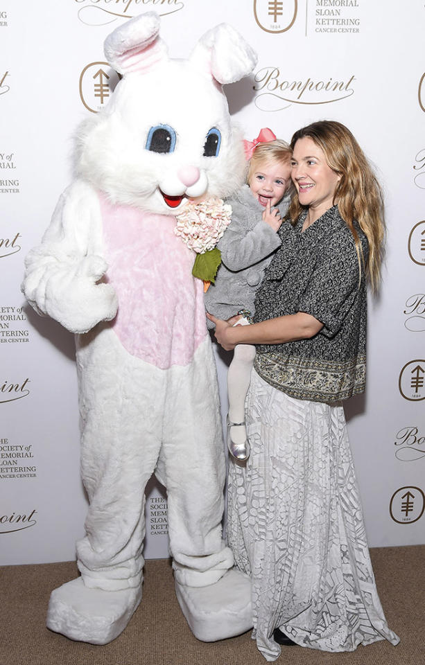 """<p>Cute as a bunny! Drew Barrymore had a <a rel=""""nofollow"""" href=""""https://www.yahoo.com/celebrity/drew-barrymores-daughter-frankie-gives-us-major-gertie-vibes-174658134.html"""">rare public outing with her younger daughter, Frankie</a>, at the Society of MSK's 2017 Bunny Hop, a charity event, in March. The little girl, who turns 3 in April, looked thrilled to meet the fuzzy character — or maybe she was just thinking about all the chocolate she was going to get to eat at the party. Yummo! (Photo: Ben Gabbe/Getty Images) </p>"""