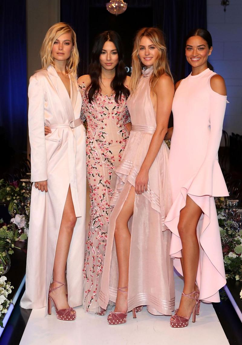 Last year US stunner Karlie Kloss walked the catwalk for DJs, while Shanina Shaik (far right) and Bridget Malcolm (far left) appeared at this year's Spring/Summer runway show. Source: Getty