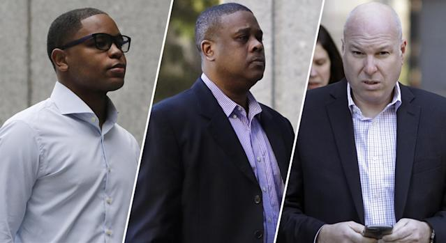Christian Dawkins, Merl Code and James Gatto were all found guilty in federal court on Wednesday. (AP)