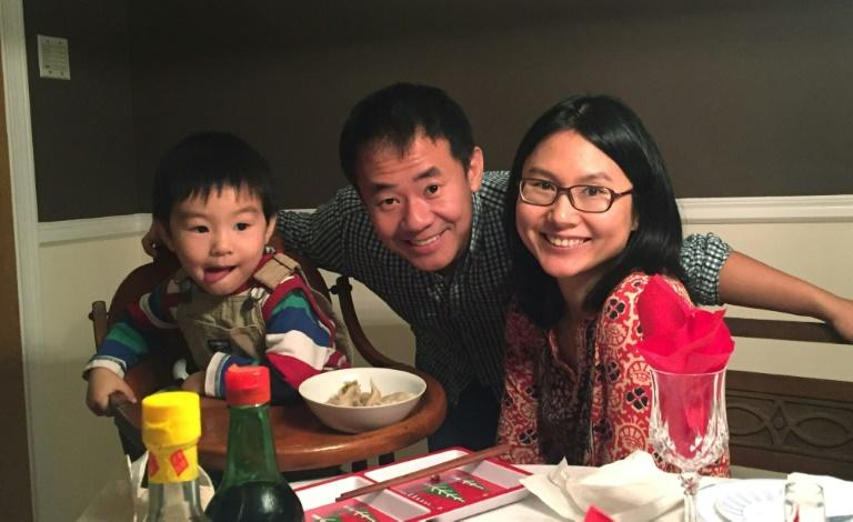 Princeton graduate student Xiyue Wang, pictured with his family before he was detained in Iran in August 2016 (AFP Photo/Hua Qu)