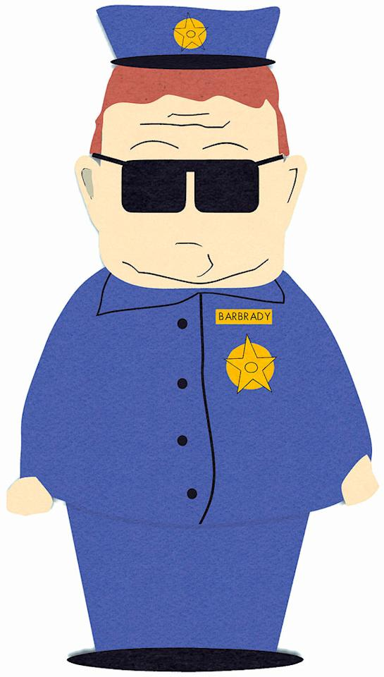 Officer Barbrady (voiced by Trey Parker) stars in South Park on Comedy Central.